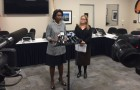 VTA General Manager Nuria Fernandez and VTA Board of Directors Chair Cindy Chavez address reporters after the FBI raid. (Image via VTA)
