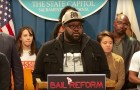 San Jose resident Ato Walker spoke at a press conference alongside lawmakers about the need for statewide bail reform.