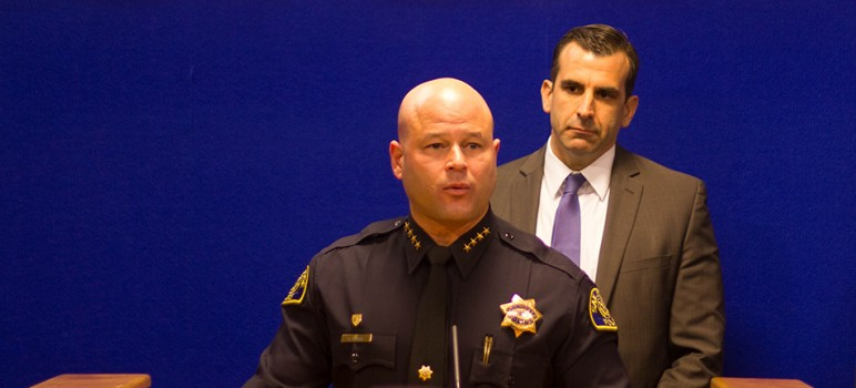 San Jose Police Chief Eddie Garcia (left) and Mayor Sam Liccardo held a joint press conference Friday to reassure residents that they would not work with federal immigration enforcement on deportations. (Photo by Taylor Jones)