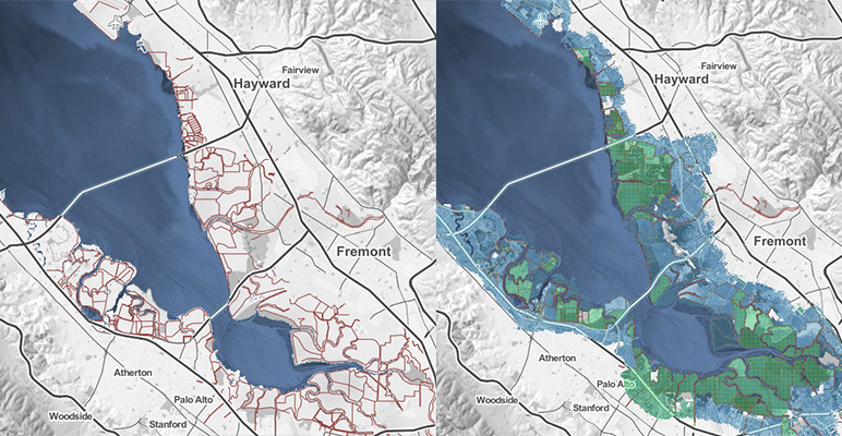 A risk zone map that shows current sea levels (left) compared to a 10-foot rise, which the bay is projected to reach by 2200 unless the state imposes stricter regulations on carbon emissions. (Source: Climate Central)