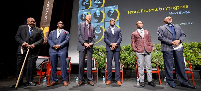 San Jose State brought together a star studded panel to help announce a new institute on sports and society. Panelists included (from left): Jim Brown, Takeo Spikes, Kareem Abdul-Jabbar, Chris Webber, Anquan Bolding and Tommie Smith. (Photo by Greg Ramar)