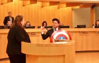 Lan Diep, San Jose's District 4 councilman, brought along a Captain America shield for his swearing-in ceremony. (Photo via Twitter)