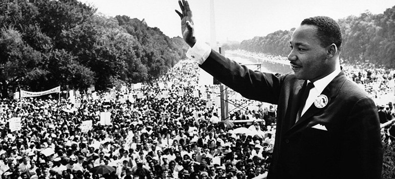 "Martin Luther King Jr. addresses a crowd from the steps of the Lincoln Memorial where he delivered his famous, ""I Have a Dream,"" speech during the Aug. 28, 1963, march on Washington, D.C. (Image via Wikimedia Commons)"