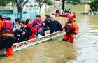 San Jose firefighters carried out rescue operations for many residents who never received flood warnings Feb. 21, 2017. (Photo by Chris Smead, via Friends of San Jose Firefighters)
