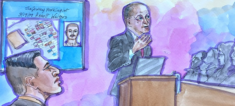 Antolin Garcia Torres (left) looks on as prosecutor David Boyd delivers his opening statement. (Illustration by Vicki Ellen Behringer)