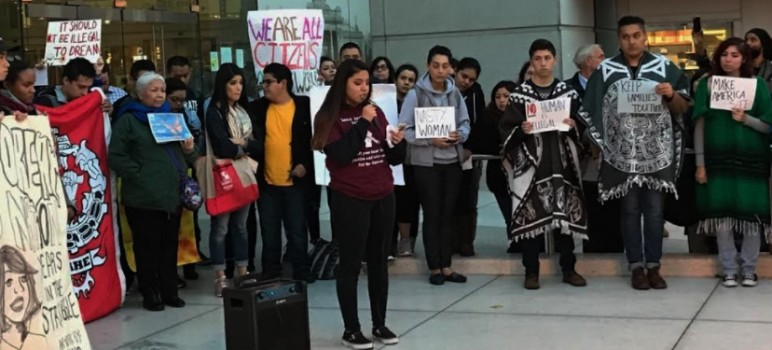 Downtown College Prep Alum Rock students (pictured here at a rally) have been active in responding to ideas proposed by Donald Trump.