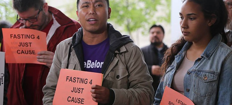 A group of renters in San Jose began fasting last month to protest the city's housing policy. On Tuesday, the City Council will decide whether to enact the just cause ordinance this week or three months from now. (Photo via Silicon Valley Renters Rights Coalition)