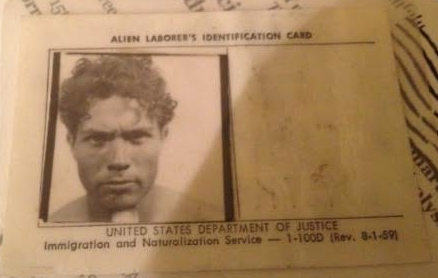 Jaime Zesati keeps a photo of his dad's alien ID card on his cellphone.