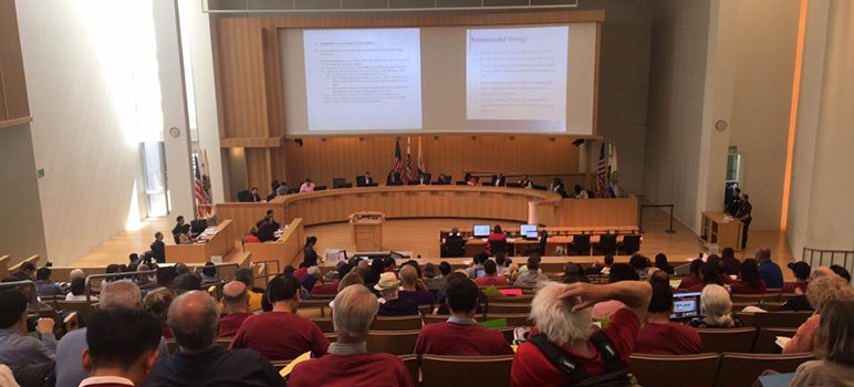 The council approved an urgency ordinance, which enacts just cause protections right away. (Photo by Silicon Valley Renters' Rights Coalition)