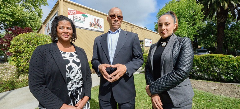 Roots Community Health Center in San Jose—led by (from left) Alma Burrell, Aquil Naja and Dr. Noha Aboelata—is designed to build closer relationships with African American patients. (Photo by Greg Ramar)