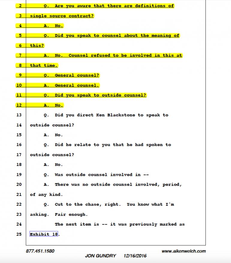 Jon Gundry - No outside counsel