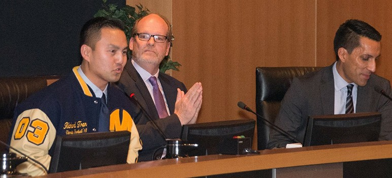 Tom Williams' (center) spending habits at Milpitas City Hall have come under scrutiny.