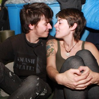 Grodt and Dedrick during the 2011 Occupy protests in NYC. (Photo via GoFundMe)