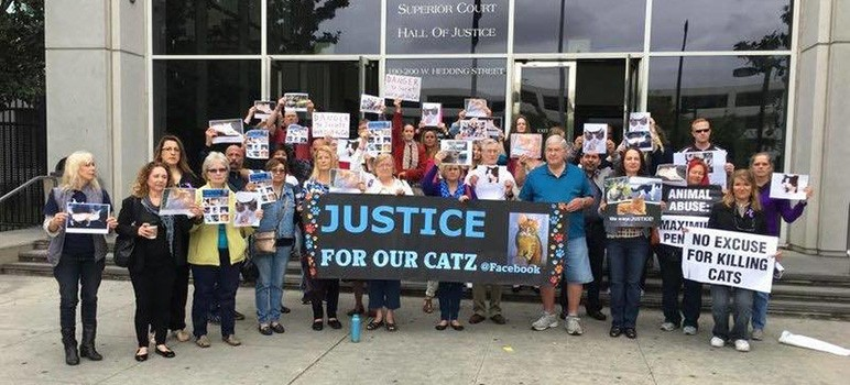 A group of animal advocates gather outside the courthouse Friday before Robert Farmer's sentencing. (Photo via Facebook)