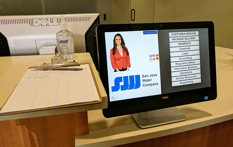 A digital receptionist greets visitors at San Jose Water's central office on Taylor Street. (Photo by Jennifer Wadsworth)