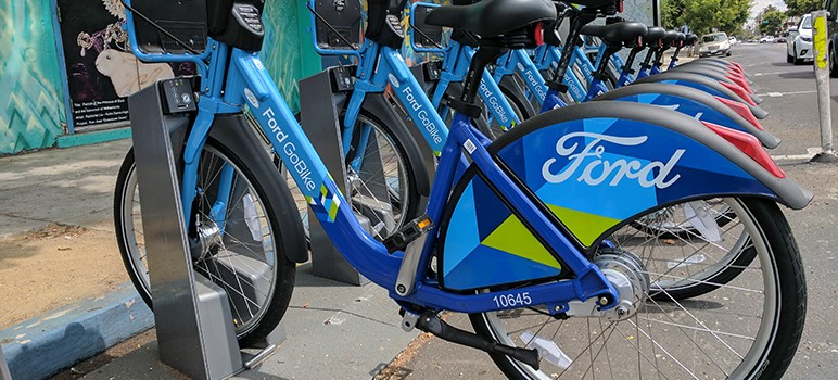 Newly branded Ford GoBikes in the SoFA District.