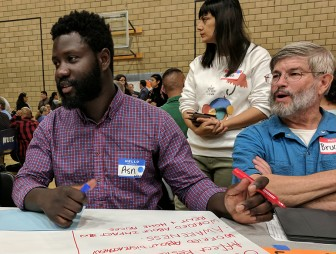Participants at a recent town hall forum hosted by a coalition of community groups called Silicon Valley Rising. (Photo by Jennifer Wadsworth)