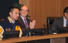 Tom Williams, middle, has resigned from his post as Milpitas city manager. He had held the job for more than a decade.