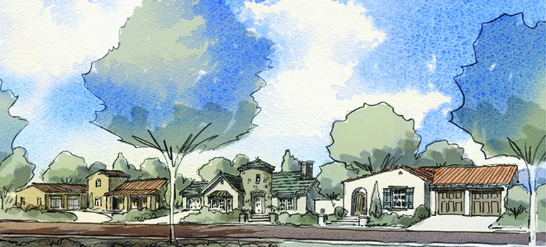 Real estate developers Carl Berg and Chop Keenan are backing a ballot measure that would change city zoning laws in San Jose to create a senior housing project depicted here. (Courtesy of Evergreen Senior Homes Initiative)