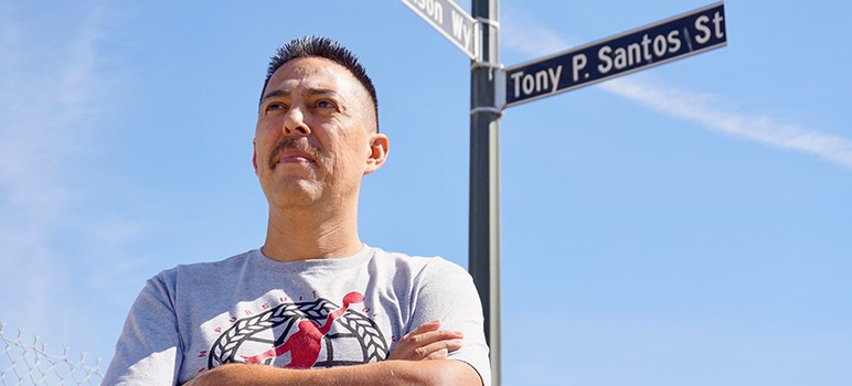 Alviso resident Mark Espinoza has criticized entrenched interests in the north San Jose suburb, but his checkered past may undermine his message.  (Photo by Jennifer Wadsworth)