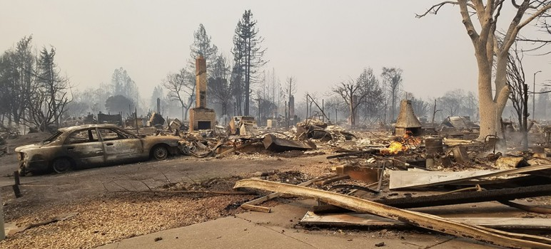 Entire neighborhoods were destroyed and at least 15 people died in the unprecedented North Bay fires this past week. (Photo by Dawn Heumann)