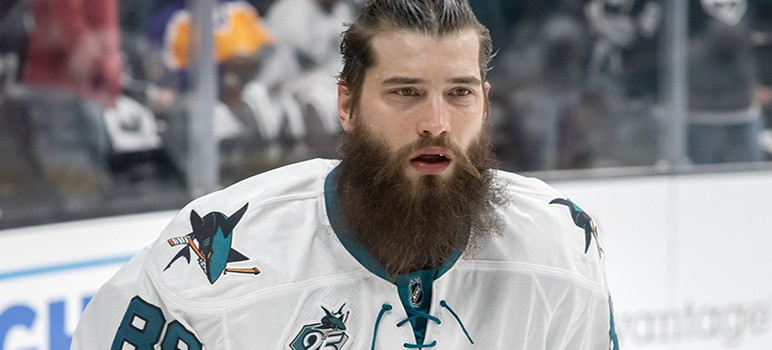 The San Jose Sharks' Brent Burns has not scored a goal this season after leading all NHL defenseman in points a year ago. (Photo by mark6mauno via Wikimedia Commons)