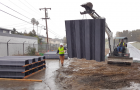 Crews work on building flood barriers in San Jose's Rock Springs neighborhood. (Photo via Santa Clara Valley Water District)