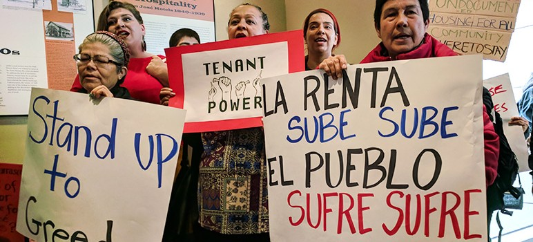 More than 30 tenants staged a sit-in on the top floor of City Hall last week to urge the council to enact stronger rent control measures. (Photo by Jennifer Wadsworth)