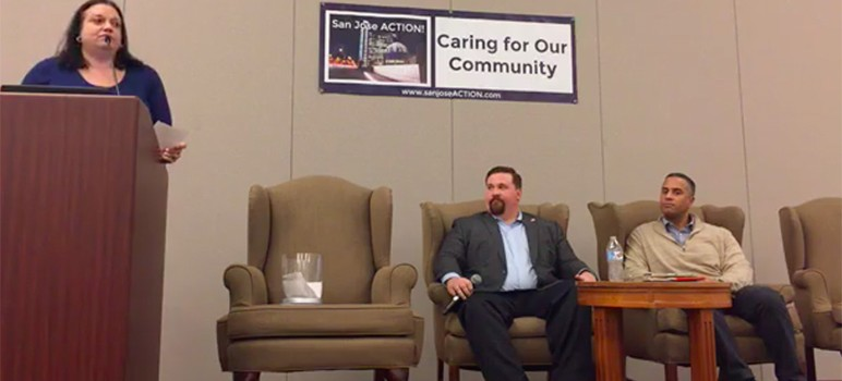 Former council candidate Steve Brown (right) was a guest speaker at San Jose Action's Dec. 18 meeting. (Image via Facebook Live)