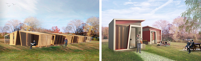 Architectural renderings of San Jose's proposed tiny home villages. (Image via Gensler/City of San Jose)