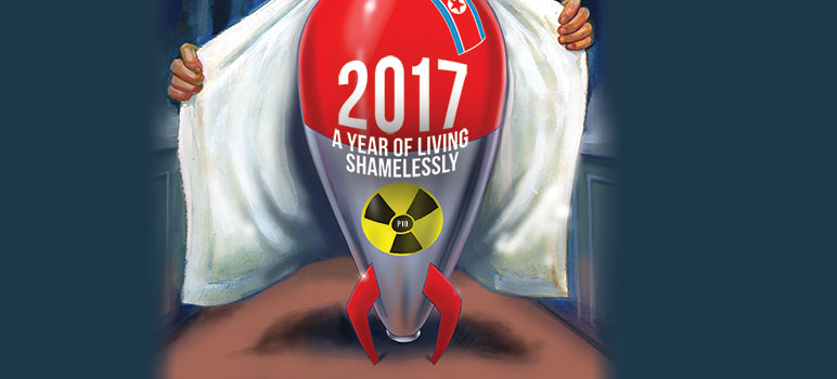 The year of 2017 was record setting in all the wrong ways, but there were more than a few dubious achievements to make us laugh while we cringe. (Illustration by Fred Harper)